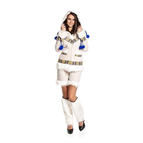 Kostümplanet® Eskimo-Kostüm für Damen mit Fell-Kapuze und Stulpen, Größe: Größe (Eskimo Kostüm Damen)