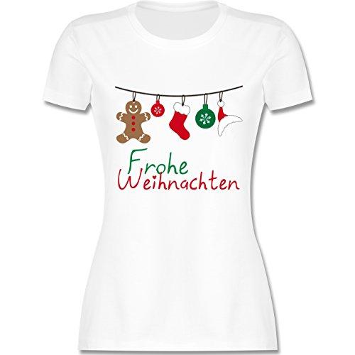 Christmas Shirt T Ideen (Weihnachten & Silvester - Frohe Weihnachten Girlande - L - Weiß - L191 - tailliertes Premium T-Shirt mit Rundhalsausschnitt für)