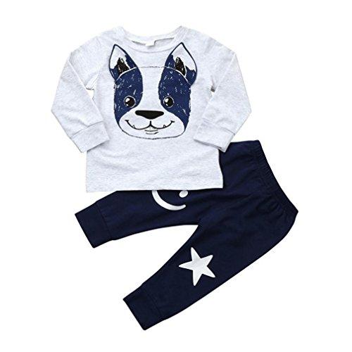 LMMVP 2Pcs Bébés Garçons Filles Oreilles de Chien de Dessin Animé Pantalon Outfit Ensembles de Vêtements