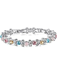 Yellow Chimes Crystals from Swarovski Double Layer Crystal Silver Bracelet for Women and Girls