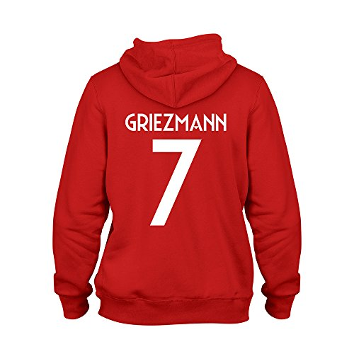 Antoine Griezmann 7 Club Player Style Kids Hoodie Red/White, Large Boys (9-11yrs)