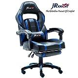 JR Knight - LC-04BKBL - Chaise de jeu ergonomique avec repose-pieds - Conception pour joueur professionnel - Pour le bureau et l'ordinateur à la maison - Pivotante - De course - En cuir PU - Rembourrée - Inclinable et base chromée...