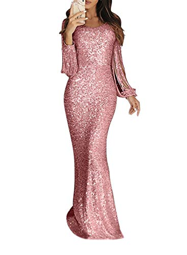 Minetom Damen Festlich Hochzeit Kleider Glänzend Pailletten Elegant Lang Abendkleid Langarm Quaste Cocktailkleid Maxikleid Partykleid A Rosa DE...