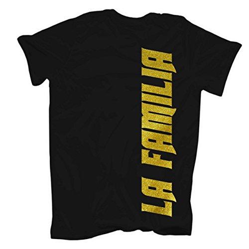 Männer und Herren T-Shirt La Familia Keine Feinde Keinen Charakter (mit Rückendruck) Körperbetont schwarz