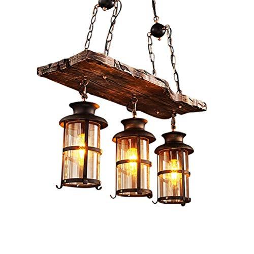 DE_ZHAO Vintage Pendelleuchte Holz Restaurant Kronleuchter Bar Internet Cafe Deckenbeleuchtung Bekleidungsgeschäft Holz E27 Leuchte