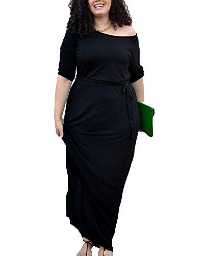 Donna vestito maniche lunghe eleganti taglie forti abito da sera partito nero 3xl