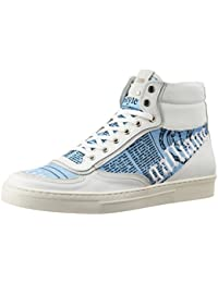 Galliano Men's White And Sky Blue Leather Sneakers