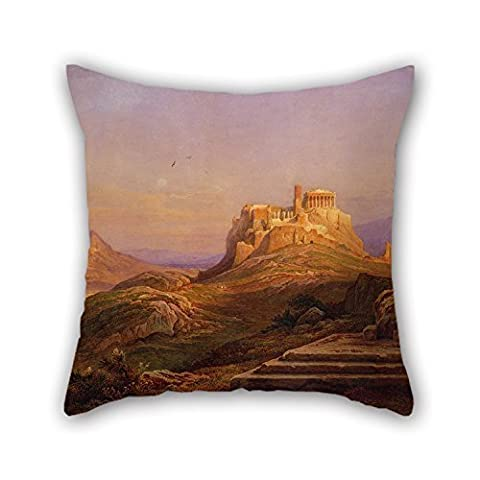 Bestseason Pillow Cases 16 X 16 Inches / 40 By 40 Cm(each Side) Nice Choice For Saloon,indoor,teens,bench,living Room,outdoor Oil Painting Muller Rudolph - View Of The Acropolis From The