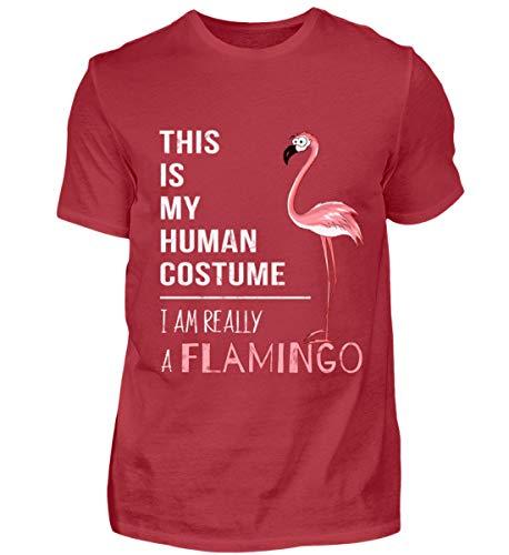 My Human Costume, I'm Really a Flamingo - lustig für Liebhaber von pinken Comic-Flamingos - Herren Organic Shirt -XXL-Kardinal Red (Kardinal Vogel Kostüm)
