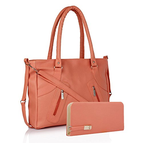 Flora Premium PU Leather Women's Handbag And Wallet Clutch Combo (LBWP-2) (Peach Color)