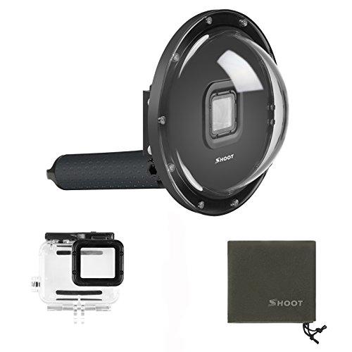 SHOOT Boîtiers étanches Dome Port pour GoPro Hero 7 Noir/Hero 6/Hero 5/Hero(2018) Black Camera 6 Pouces de Plongée sous-Marine Imperméable Transparent Dôme Lens avec Poignée Flottante Grise