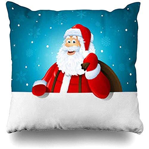 Blue Kostüm Santa - honingws Dekokissenbezüge Claus Blue Happy Santa Over White Leere Feiertage Rot Kostüm Winter Bart Charakter Schnurrbart Couch Platz Kissenbezüge Kissenbezüge 45X45CM