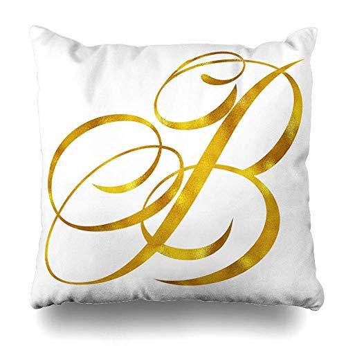 Throw Pillow Cover Square Monogram Gold Foil Script Carta Cita Inicial Blanco Cojín...