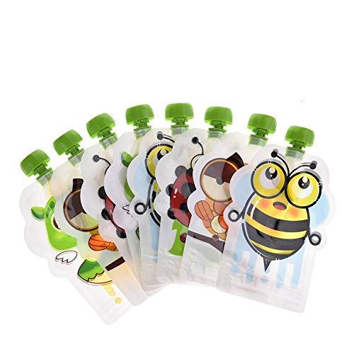Chirsemey Wiederverwendbaren Quetschbeutel Baby Entwöhnung Pouch BPA Frei Mit 8er Pack Einfach Zu Befüllen Und Reinigen, Für Lebensmittel Obst Püree, Joghurt, Smoothies Hausgemachte Snacks