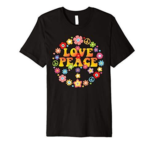 Peace Love T-Shirt 60s 70s Krawatte sterben Hippie Kostüm (Tie Dye Hippie Kostüm)