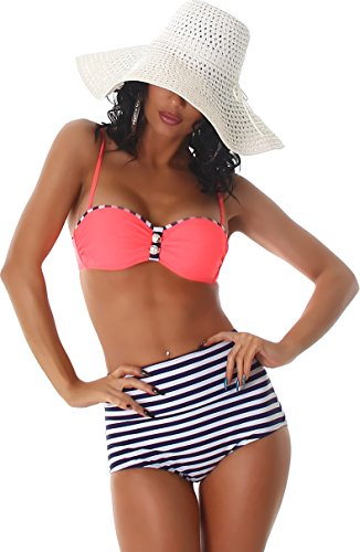 PF-Fashion Damen Push-Up Bikini Träger Uni Maritim Bandeau Vintage Retro Marine High-Waist Slip gestreift Salmon 32/34 Vintage Slip