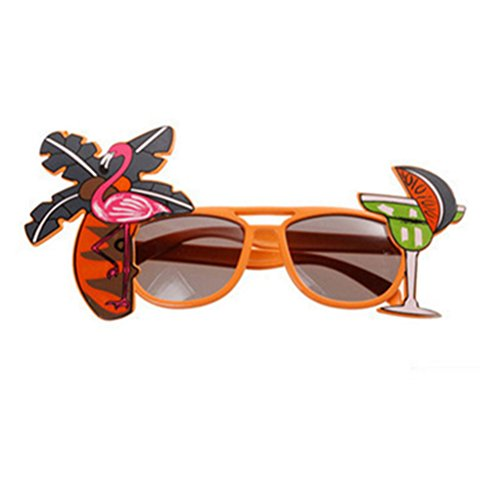 Zedo Hawaii Flamingo Brillen Cocktail Sonnenbrille Kokosnussbaum Papagei Muster Partybrille Party...