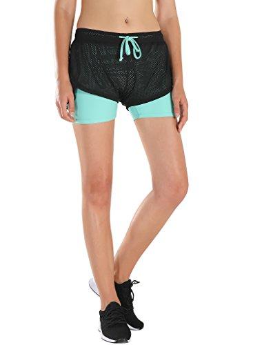 HAINES 2 in 1 Sport Shorts Damen Trainingshose Kurze Sporthose Laufshorts Yoga Fitness Running Shorts,Blau -
