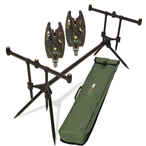 g8ds® Set Rod Pod Rutenhalter + Tragetasche inklusive 2 Bissanzeiger mit Lautstärke- und Tonregler für + LED Karpfen Angeln