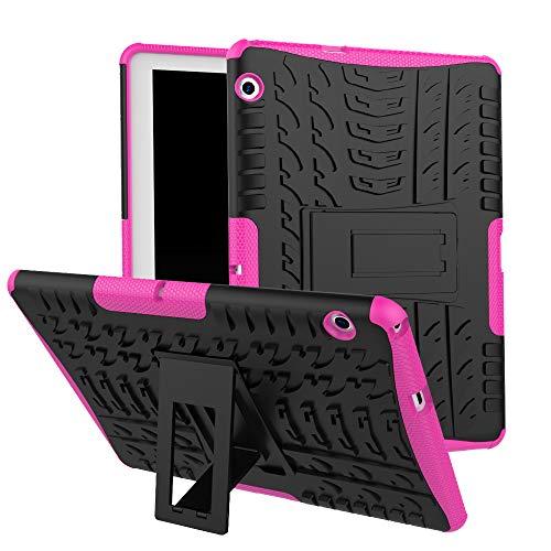 HUUH Funda Huawei MediaPad T5 10,TPU + PC 2-en-1 de Doble Capa de protección, diseño de Bolsa de Aire de Cuatro Esquinas, Soporte Oculto, Adecuado para Huawei MediaPad T5 10.0 Pulgadas(Rosa roja)
