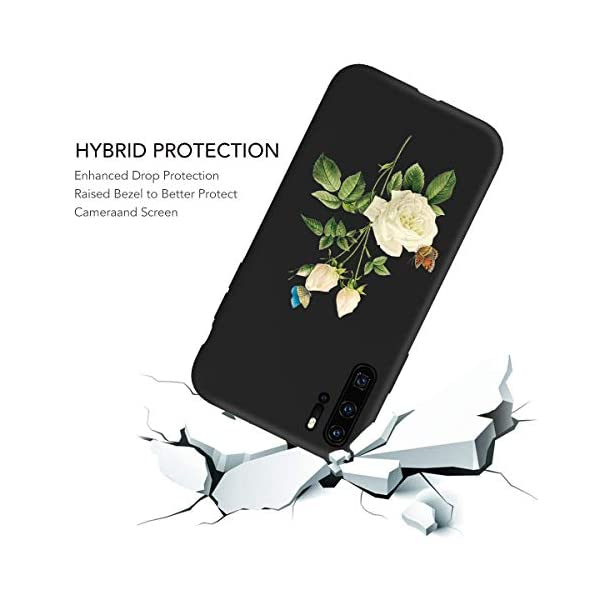 Oihxse Compatible with Huawei P20 Case with Fashion Design, Soft TPU Ultra Thin Black Matte Finish [Anti-Fingerprint] Drop Protection Back Cover Shell Skin for Huawei P20-White Rose Oihxse 🦜【Ultra-Thin & Slim Fit】Ultra-Slim design snugly fit for your Huawei P20 to bring [Sleek Look], [Stylish Charming] and [Great in-hand Feeling] due to the process with matte finish compliment with fashion pattern on the mobile phone case back-black colour. 🦜【Support Wireless Charge】With precision cutouts of the Huawei P20, you can easy access to headphone jack, charger port, key mute, speakers, audio ports and buttons without the interference of [WiFi Reception], [Signal Reception], [Wireless Charging Performance], etc. 🦜【Anti-Fingerprint & Non-Fade Material】Crafted with soft anti-yellowing and non-fade TPU material with red frosted finish to provide you fingerprint resistant, anti-slip, daily scratches, bumps, drops and other daily damages. 5