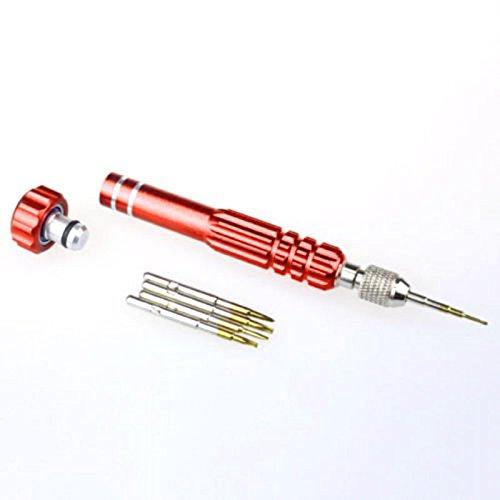 ourleeme 5in 1Repair Schraubenzieher öffnen Set Werkzeug-Set für Uhren/Brillen Phone Repair rot