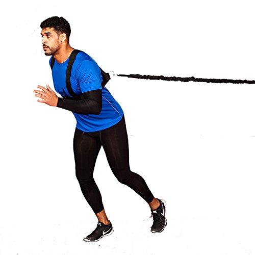 FITNESSHEALTH, set imbracatura FH Pro per allenamento con corda elastica di resistenza da 3 metri, per rugby, calcio, sport di squadra di velocità