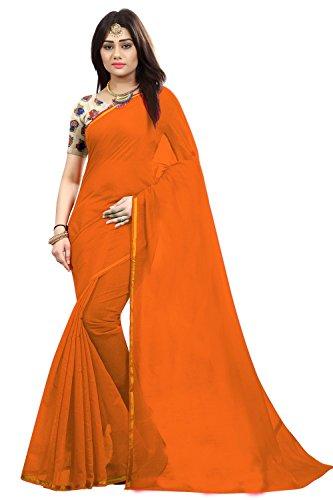 Silverstar Chanderi Cotton Saree With Blouse Piece (Sss1213_Orange_Free Size)