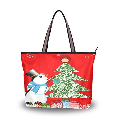 Emoya Damen Umhängetasche Schultertasche Weihnachtsbaum Schneemann Kardinal Eule Top Handle Satchel Handtasche L, Mehrfarbig - multi - Größe: Medium -