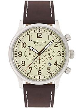 Gigandet Quarz Herren-Armbanduhr Destination Chronograph Uhr Datum Analog Lederarmband Beige Braun G15-003