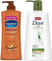 Vaseline Intensive Care Cocoa Glow Body Lotion, 400 ml & Dove Hair Fall Rescue Shampoo, 650ml