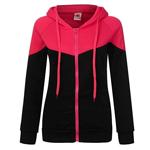 TianWlio Jacken Parka Mäntel Herbst Winter Warme Jacken Strickjacken Damen Lange Ärmel Fleece Sweatshirt Warmer Streifen Zip Fuzzy Hoodie Pullover Hot Pink XL