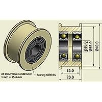 Pack de 4 x Nylon Cinturón Idler 40mm diámetro 16mm Groove 10mm Rodamientos Precisamente mecanizado en la UE (40-16-10)