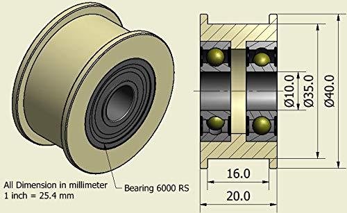 4Stück x Nylon Gürtel Faulenzer 40mm Durchmesser 16mm Groove 10mm Lager Präzise gefräßt in der EU (40–16–10)