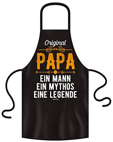 Soreso Design Grillschürze Kochschürze inkl. Urkunde für den weltbesten Papa - Spruch Original Papa - Geschenkidee Vatertag Geburtstag Farbe:schwarz