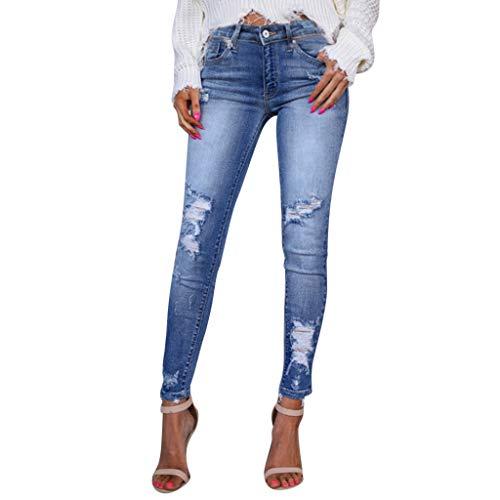 ❤❤JiaMeng Damen Jeans,Denim Hosen Zerstörte Jeans Zerrissenes Loch Jeans Hosen Frauen Löchern Jeanshosen Damen Blau Jeans Skinny Slim Fit Stretch Stylische High Waist Röhrenjeans