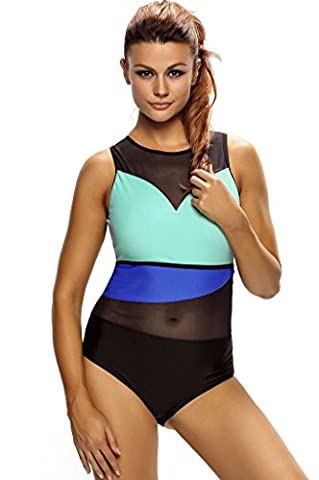 Fortuning's JDS Fashion Color Block Mesh Insert Monokini One Piece