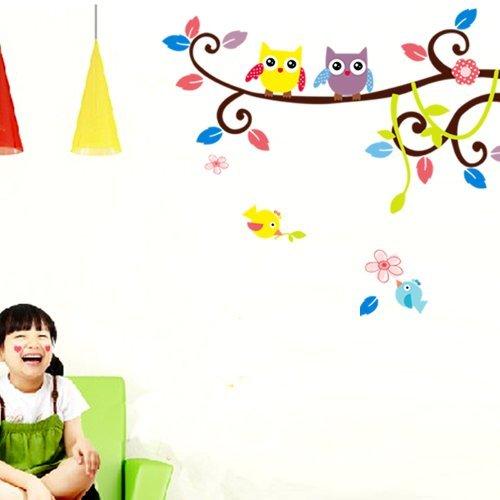 Farbig Wandtattoo Kinderzimmer Tür Festern Dekor bunt Eulen Baum entfernbar Wandstickers. QT35