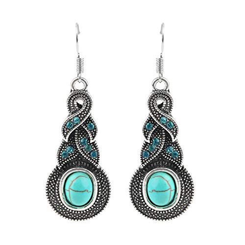 1c9ca9e05 ningbao951 1 Pair Women Vintage Turquoise Crystal Bead Ear Hook Dangle  Earrings Jewelry Fit For Parties