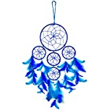 Reiki Crystal Products Dream Catcher 5 Round Blue With Purple Feather Wall Hanging For Positive Energy And Protections Size 55 X 15 Cm Approx