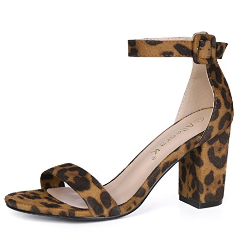 Allegra K Damen Peep Toe Print Strappy Sandale High Heels Braun-Leopard 35 EU/Label Size 5 US Leopard Print Peep Toe