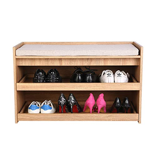 Happy Home Schuhablage Bank 2-Level Schuhregal mit Sitzkissen für Flur Schlafzimmer Holz 86x39x52.5cm