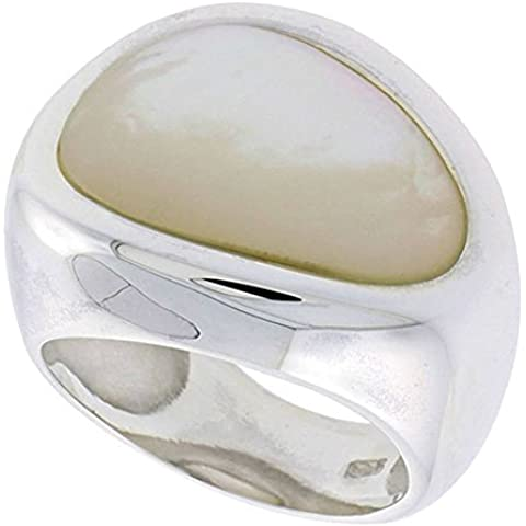Revoni-Anello da donna in argento Sterling, a forma di pera, in madreperla, 3/10,16 (4 cm (19