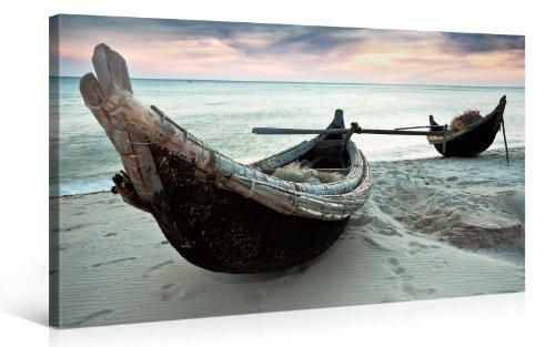 Impression Giclée sur Toile en Grand Format - Boats - 100x50cm - Photo sur Toile de Tendue sur Châssis en Bois - Tableau Artistique Contemporain - Image Déco d'art Murale Prêt à Accrocher