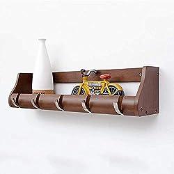 QAZ Kleiderständer Wandgarderobe im Japanischen Stil/Schlafzimmer Wandhaken aus Massivem Holz/Wohnzimmer Lagerung Hängend (Farbe: Braun; Größe: 63 * 13 * 14cm)