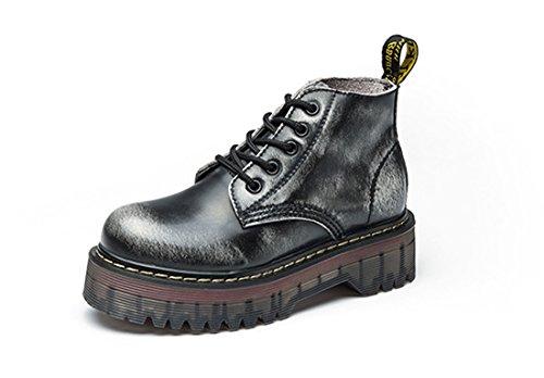 Honeystore Damen Leder Stiefel Chelsea Boots Flache Boots Klassischer Stiefeletten Schnüren Freizeitschuhe Grau 40 EU