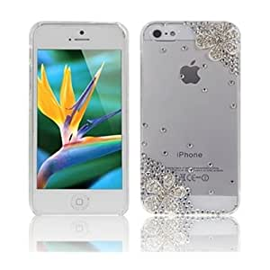 Vandot 1X Schutzh¨¹lle Apple iPhone 5S H¨¹lle (harte R¨¹ckseite) 3D Bling Transparent Glitzer Strass Tasche H¨¹lle Etui mit Blume Rose Diamant Cover Case Kristall