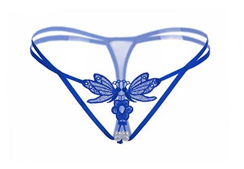 Evelure Damen Strings Dessous Panty Hipster Höschen Offener Schritt Boyshort Spitze Unterwäsche mit Spitze (1pcs) (One Size(M-XL), Blau) (Boyshorts Blau)