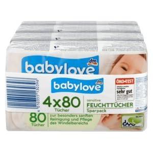 babylove Feuchttücher sensitive 4×80 Stück, 320 St