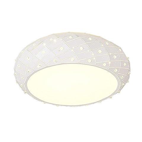 American Creative Crystal Circular Ceiling Light, Warm Ceiling Light for Living Room, Bedroom